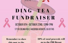 20% of customers' proceeds go to the Conquer Cancer fundraiser when this flier is presented at Ding Tea. Photo Courtesy of Fiona Ngo.
