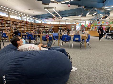 The inside of the media center is set up for students to enjoy new amenities and books. Photo by David Galaviz.
